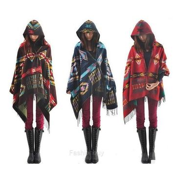 New Women's Wool Blend Hooded Blanket Cloak Poncho Cape Outwear Coat Shawl F_B = 5616981697