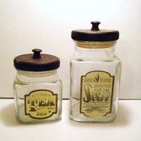 Vintage Tea and Sugar Canister... Glass and Wood... 1984