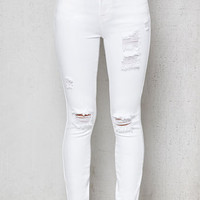 PacSun Miami White Ripped Mid Rise Skinny Jeans at PacSun.com