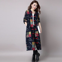 Women Long Cotton Linen Coat Stand Collar Chinese Ethnic Trench Coat Long Sleeve Frog Button Pockets Loose Maxi Coat Outwear SM6