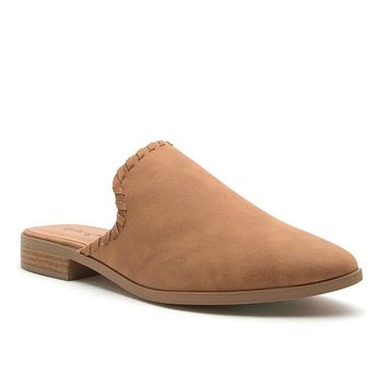 Get To The Point Mule Ballerina Flats In Camel