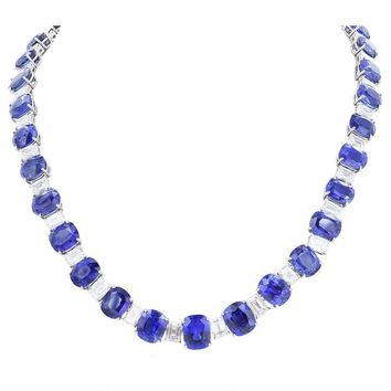 116.35 Carat Ceylon Sapphires 24.27 Carat Diamonds Flexible Platinum Necklace