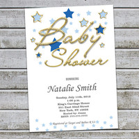 Baby Shower Invitation Boy Baby Shower Invitations Gold Baby Shower Invitation Blue Gold (V12)-Free Thank You Card