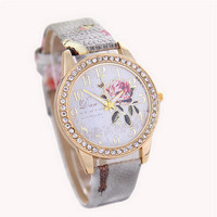 Womens Girls Rose Print Leather Strap Wrist Watch Casual Sports Diamond Watches Best Christmas Gift