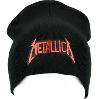 Red Metallica Black Knit Beanie Hat Heavy Metal Music