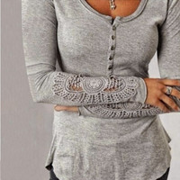 Crochet Sleeve Shirt  (Available in Plus Sizes)