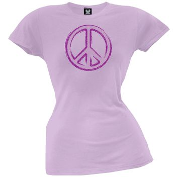 Peace Sign Lilac Juniors T-Shirt