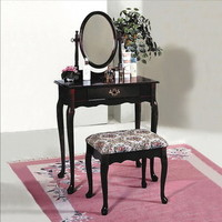 Luna Cherry Table Stool Vanity Set in Contemporary style