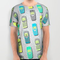 Vintage Cellphone Pattern All Over Print Shirt by Chobopop