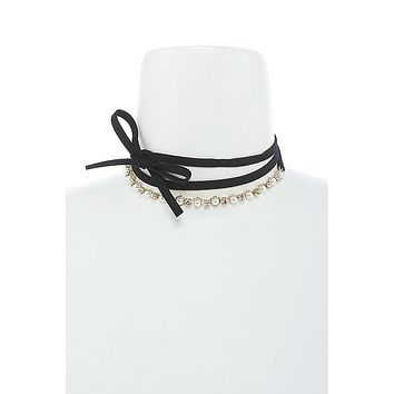 Crystal & Pearl Bow Choker Necklace & Earring Set