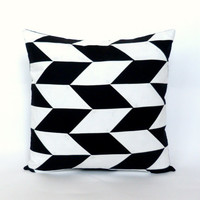 PATCHWORK Black and White Pillow Cover | Modern Patchwork Herringbone Pillow | GeometricElectric Handmade Modern Home Decor