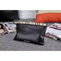 BURBERRY MEN'S HOT STYLE LEATHER ZIPPER HAND BAG