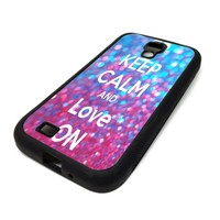 Samsung Galaxy S4 SIV Case Cover Keep Calm And Love On GLitter Pink Sparkle DESIGN BLACK RUBBER SILICONE Teen Gift Vintage Hipster Fashion Design Art Print Cell Phone Accessories