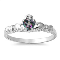 925 Sterling Silver CZ Benediction of the Claddagh Simulated Mystic Topaz Ring 7MM