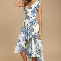 French Countryside White Floral Print High-Low Dress