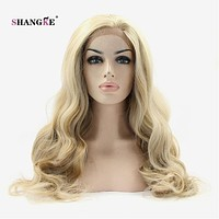 SHANGKE Hair 26'' Long Wavy Lace Front Wig Light Blonde Synthetic Wigs For Black Women Heat Resistant Synthetic Fake Hair Wig