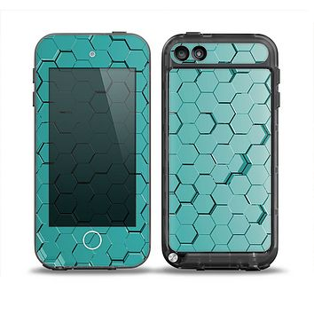 The Teal Hexagon Pattern Skin for the iPod Touch 5th Generation frē LifeProof Case