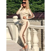 FENDI Fashion Women High Collar Long Sleeve Top Pants Trousers Set Two-Piece khaki