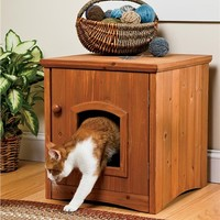 Wooden Cat Washroom Litter Box Cabinet | Cat Accessories