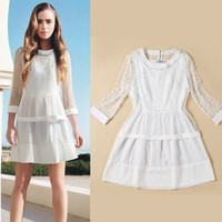 White Sleeveless Skater Dress with Long Sleeve Mesh Top