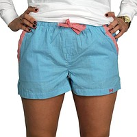 Lounge Short in Turquoise Seersucker by Frat Collection