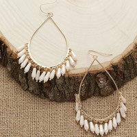 Iridescent Bead Fringed Teardrop Earrings