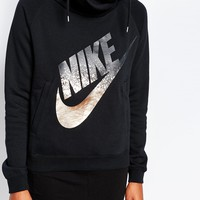 Nike Funnel Neck Hoodie With Foil Logo