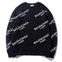 Balenciaga Trending Women Men Stylish Leisure Letter Print Long Sleeve Sweater Sweatshirt Pullover Top Black I-CP-ZDL-YXC