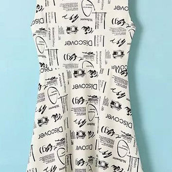 White Letter Printed Skater Dress