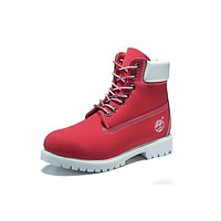 Timberland 10061 Leather Lace-Up Boot Men Women Shoes Red White