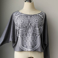 White Ancient Art Skull Printed  Pullover Oversize style Bat Style Half Body In Grey