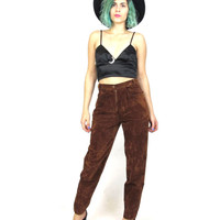 80s Velvet Trousers Brown Faux Suede Pants High Waisted Pants Slim Mom Tapered Fit Chocolate Brown Winter Trousers (S)