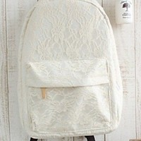 Girl's Lace Aestheticism Travel Leisure Canvas Backpack/ Bags for Student (Rice white):Amazon:Clothing
