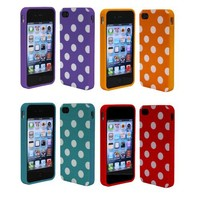 Combo 4in1 Colorful Polka Dot Flex Gel Case for Iphone 4 and 4S-Purple Orange Turquoise Red