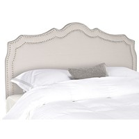 Skyler Taupe Headboard - Silver Nail Head Queen