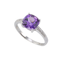 Sterling Silver .01ct Genuine Diamond Ring with Square 8mm Amethyst Center Stone