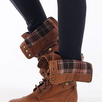 Mary Combat Boots, Tan
