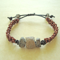 Men's Macrame Bracelet with Genuine Leather and 300 Year Old Granite Beads from Africa