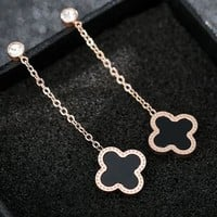 Cartier temperament four-leaf grass stud personality hipster simple eardrop