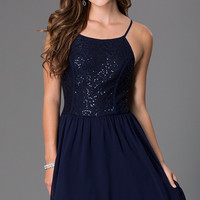 Short Sleeveless Dress with Lace and Sequin Bodice by As U Wish
