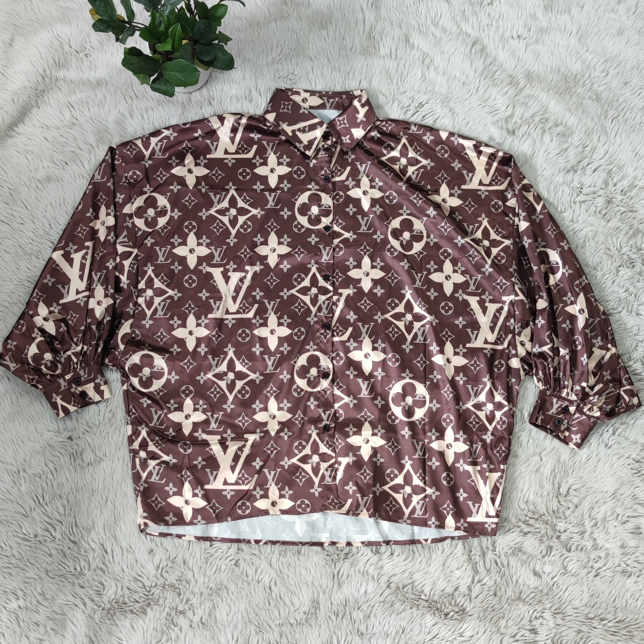 Image of LV Louis vuitton new fashion women's digital printing casual loose long-sleeved shirt