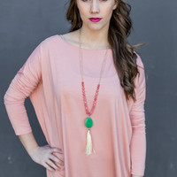 Long Sleeve Round Neck Piko Top in Nude