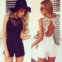 New Arrival Tank Slim Women's sexy bodycon jumpsuit With Lace Patchwork playsuit Sleeveless shorts coveralls Macacaos