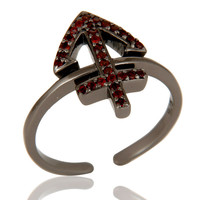 Black Oxidized Garnet Power Cross Sterling Silver Midi Ring