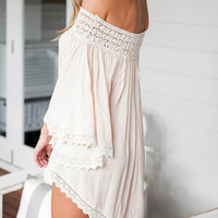 Beige Off Shoulder Asymmetric Crochet Lace Dress-top