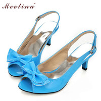 2016 Patent Leather Back Strap Woman's Peep Toe Big Bow Ladies Heel Sandals