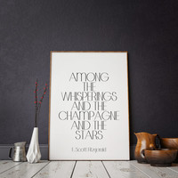 F. Scott Fitzgerald Wall art The Great Gatsby party decoration. Roaring 20s decor. Black and gold party decor Great Gatsby champagne quote