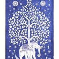 Elephant Tree Tapestry ,Good Luck White Elephant Tapestry , Hippie Gypsy Wall Hanging , Tree of Life Tapestry , New Age Dorm Tapestry (Multi/Black) (Blue/White)