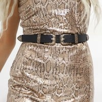 Perfect Place Western Double Buckle Belt