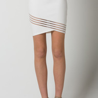 Skirt with Front Trim Detail - White